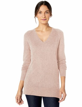 Lark & Ro Long Sleeve V-neck Sweater Dusty Rose Melange