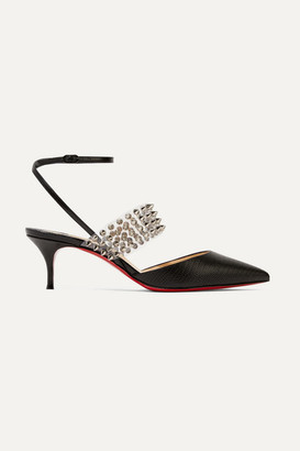 Christian Louboutin Levita 55 Spiked Pvc And Lizard-effect Leather Pumps - Black
