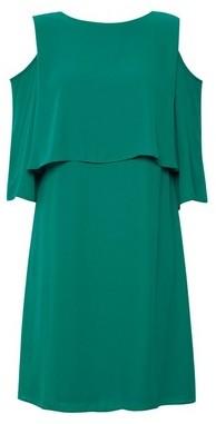 Dorothy Perkins Womens Green Cold Shoulder Shift Dress, Green