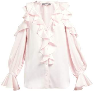 Alexander McQueen Ruffle-trim Cut-out Shoulder Silk Blouse - Womens - Light Pink