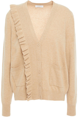 Sandro Cameen Ruffled Wool And Cashmere-blend Cardigan