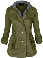 Hot From Hollywood Women's Roll Up Long Sleeve Anorak Utility Jacket with Hood