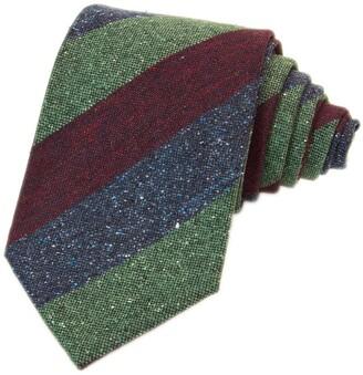 40 Colori Burgundy Three Toned Striped Silk & Wool Tie
