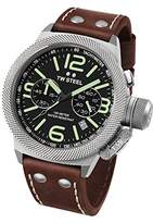 TW Steel Canteen Leather Unisex Quartz Watch with Black Dial Chronograph Display and Brown Leather Strap CS24