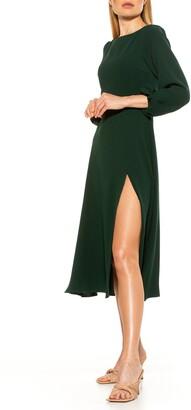 Alexia Admor Boatneck Slit Hem Midi Dress