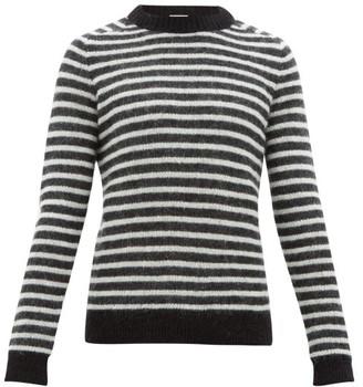 Saint Laurent Striped Mohair-blend Sweater - Mens - Black White