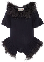 Monique Lhuillier Feather Short Sleeve Ruffle Knit Top