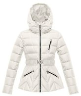 Moncler Bernadette Belted Puffer Coat, Cream, Size 8-14