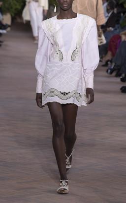 Alberta Ferretti Embroidered Chambray Oxford Long Sleeve Dress