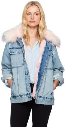 Blank NYC Women's Faux Fur Collar Jacket