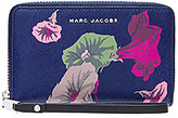 Marc Jacobs Saffiano Morning Glories Zip Phone Wristlet in Navy.