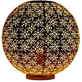 Camilla And Marc Lamps and Light, Iron, New Modern Moroccan Style Table Lamp Globe,Vintage Handmade Bedside BallHome Décor White Floral Orb, 40 x 40 x 40 cm, White