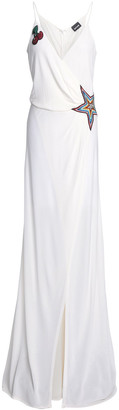 Just Cavalli Embellished Crepe De Chine Maxi Wrap Dress
