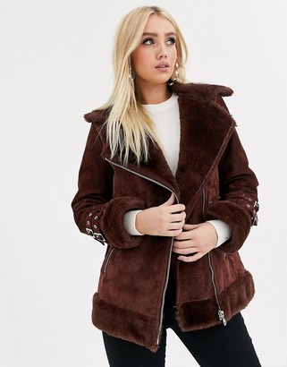 ASOS DESIGN suede aviator coat with faux fur lining in brown