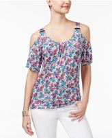 Thalia Sodi Cold-Shoulder Hardware T-Shirt, Only at Macy's
