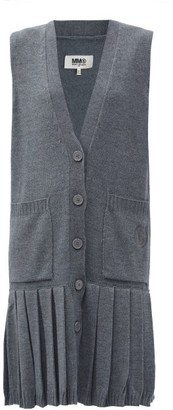 MM6 MAISON MARGIELA Pleated Wool Cardigan Dress - Dark Grey