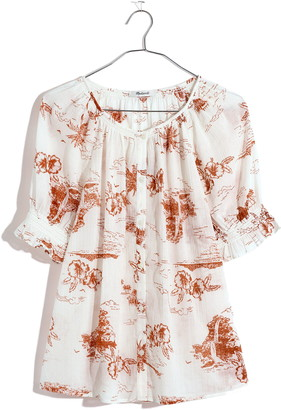 Madewell Smocked Button-Up Top