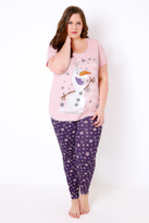 """Yours Clothing Pink & Purple """"Some People Are Worth Melting For"""" Olaf Print Disney Pyjama Set"""
