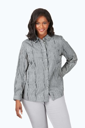 Foxcroft Plus Size Womens The Hampton Crinkle Check Shirt