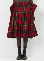 Comme des Garcons red black tartan pleat skirt