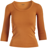 Three Dots Saffron Three-Quarter Sleeve Tee