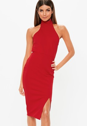 Missguided Red Choker Bodycon Midi Dress