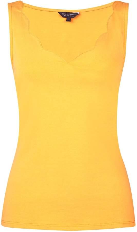 Dorothy Perkins Womens Yellow Sleeveless Scallop Neck Vest