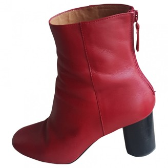 Sandro Fall Winter 2018 Red Leather Ankle boots