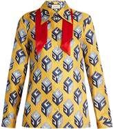Gucci GG Wallpaper-print tie-neck silk blouse