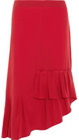 Tibi Asymmetric Pleated Silk Midi Skirt - Red