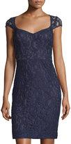 Marina Lace Sweetheart Sheath Dress, Navy