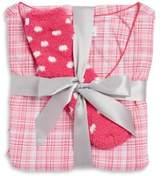 Karen Neuburger Three-Piece Plaid Pajama & Booties Set