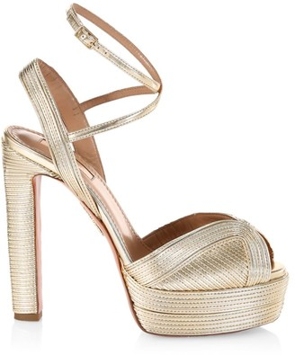 Aquazzura Caprice Metallic Platform Sandals