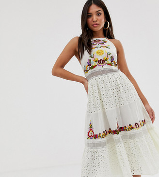 Asos DESIGN Petite square neck tiered midi dress with lace and embroidery-White