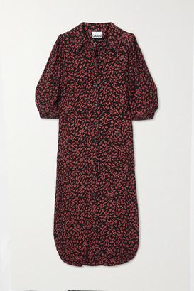 Ganni Floral-print Crepe Midi Shirt Dress