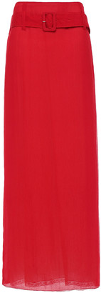 Prada Belted Silk-crepon Maxi Skirt