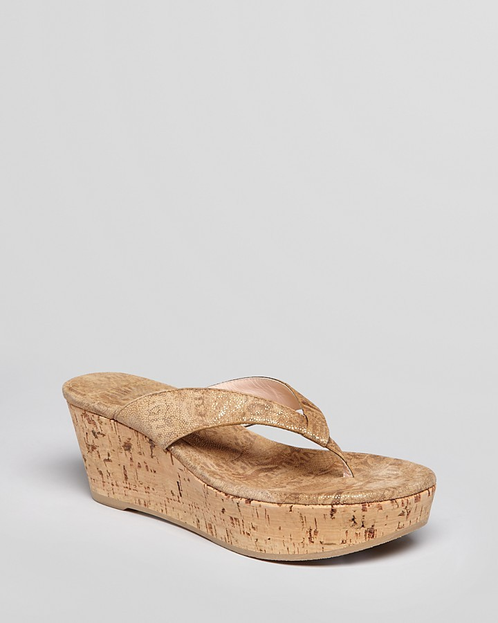 Stuart Weitzman Thong Platform Wedge Sandals - Clasp