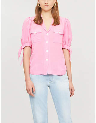 KITRI Ramona short-sleeved V-neck tencel-blend blouse