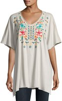 Johnny Was Embroidered V-Neck Poncho, Sand