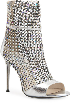 Rene Caovilla Galaxia Caged Crystal Mesh & Snakeskin Sandals