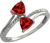 Gem Stone King 1.08 Ct Genuine Trillion Garnet Gemstone 14k White Gold Ring