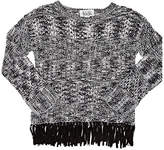 Autumn Cashmere Fringed Cotton Open-Worked Sweater
