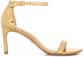 Stuart Weitzman Embossed Metallic Sandals