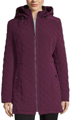 Liz Claiborne Hooded Midweight Quilted Jacket
