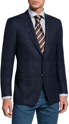 Canali Men's Melange Plaid Two-Button Jacket