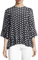MICHAEL Michael Kors Simple Dot Ruffle Top