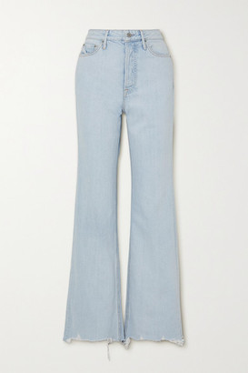 GRLFRND Carla Distressed High-rise Straight-leg Jeans - Light denim