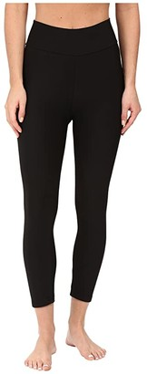 Plush Fleece-Lined Cropped Athletic Leggings with Hidden Pocket (Black) Women's Casual Pants