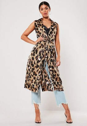 Missguided Brown Leopard Print Satin Sleeveless Duster Jacket