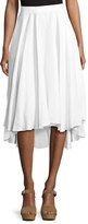 Miguelina Gale Mid-Ride Linen Midi Skirt, White